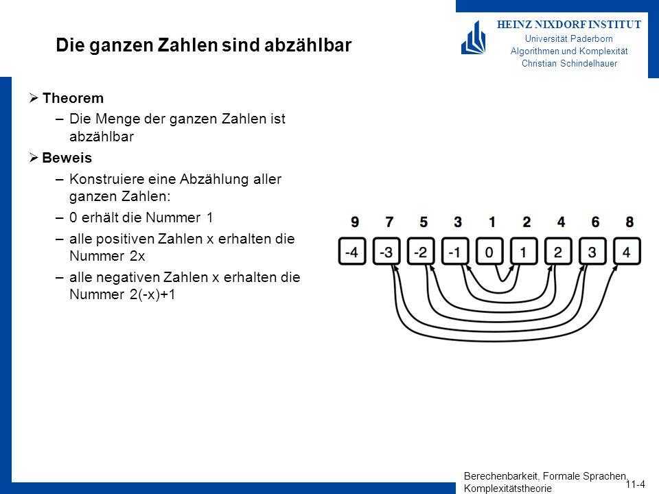 Berechenbarkeit, Formale Sprachen, Komplexitätstheorie 11-4 HEINZ NIXDORF INSTITUT Universität Paderborn Algorithmen und Komplexität Christian Schindelhauer Die ganzen Zahlen sind abzählbar Theorem –Die Menge der ganzen Zahlen ist abzählbar Beweis –Konstruiere eine Abzählung aller ganzen Zahlen: –0 erhält die Nummer 1 –alle positiven Zahlen x erhalten die Nummer 2x –alle negativen Zahlen x erhalten die Nummer 2(-x)+1