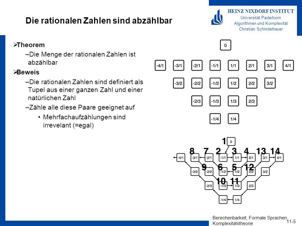 Berechenbarkeit, Formale Sprachen, Komplexitätstheorie 11-5 HEINZ NIXDORF INSTITUT Universität Paderborn Algorithmen und Komplexität Christian Schindelhauer Die rationalen Zahlen sind abzählbar Theorem –Die Menge der rationalen Zahlen ist abzählbar Beweis –Die rationalen Zahlen sind definiert als Tupel aus einer ganzen Zahl und einer natürlichen Zahl –Zähle alle diese Paare geeignet auf Mehrfachaufzählungen sind irrevelant (=egal)