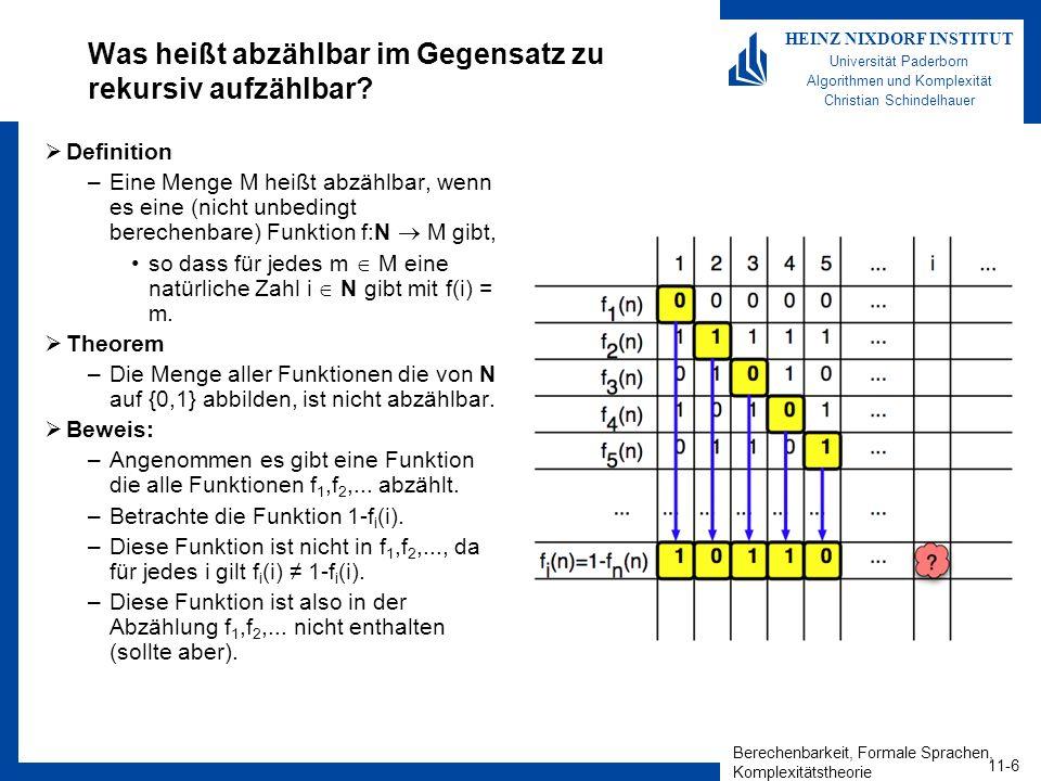 Berechenbarkeit, Formale Sprachen, Komplexitätstheorie 11-7 HEINZ NIXDORF INSTITUT Universität Paderborn Algorithmen und Komplexität Christian Schindelhauer Die reellen Zahlen sind nicht abzählbar Theorem –Die Menge der reellen Zahlen sind nicht abzählbar Beweis –Betrachte reellen Zahlen aus [0,1[ in der Dezimaldarstellung haben –Angenommen alle reellen Zahlen sind abzählbar mit x 1,x 2,x 3,...