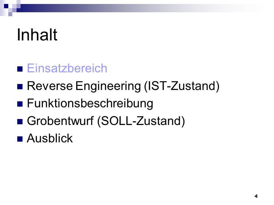 4 Inhalt Einsatzbereich Reverse Engineering (IST-Zustand) Funktionsbeschreibung Grobentwurf (SOLL-Zustand) Ausblick