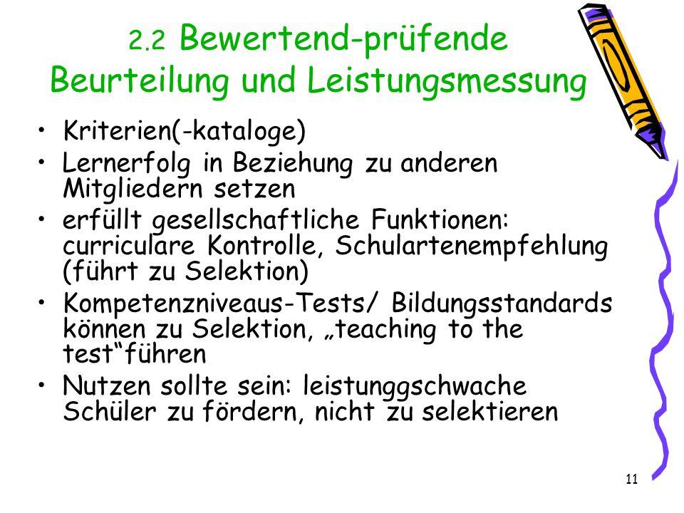 11 2.2 Bewertend-prüfende Beurteilung und Leistungsmessung Kriterien(-kataloge) Lernerfolg in Beziehung zu anderen Mitgliedern setzen erfüllt gesellsc