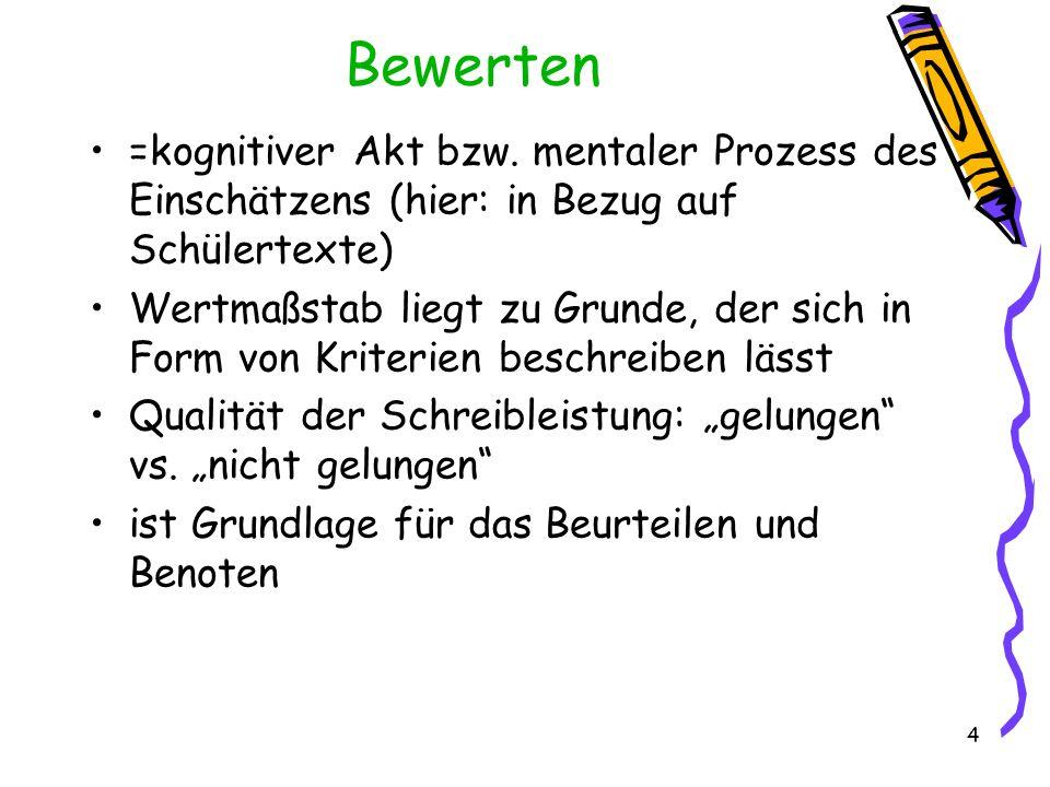 4 Bewerten =kognitiver Akt bzw. mentaler Prozess des Einschätzens (hier: in Bezug auf Schülertexte) Wertmaßstab liegt zu Grunde, der sich in Form von