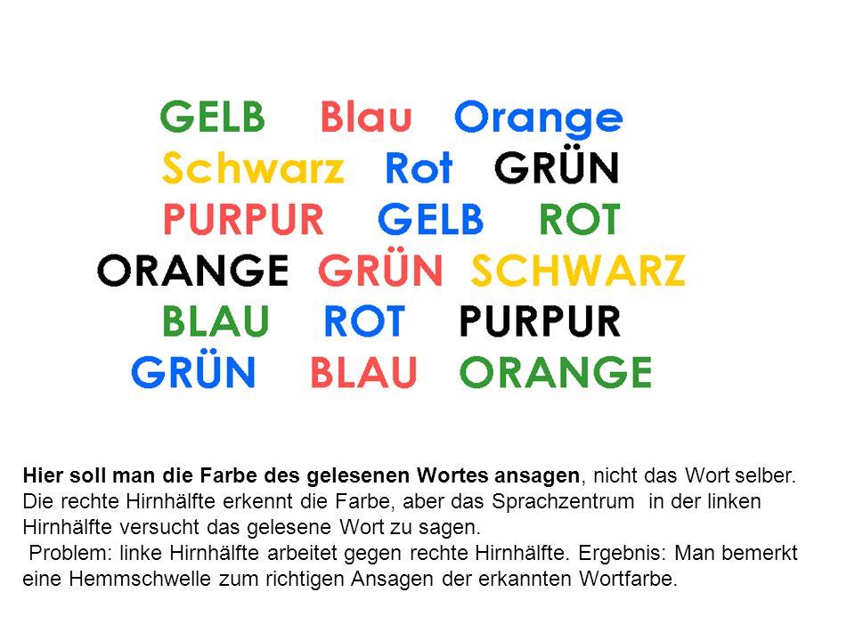 Hier soll man die Farbe des gelesenen Wortes ansagen, nicht das Wort selber. Die rechte Hirnhälfte erkennt die Farbe, aber das Sprachzentrum in der li