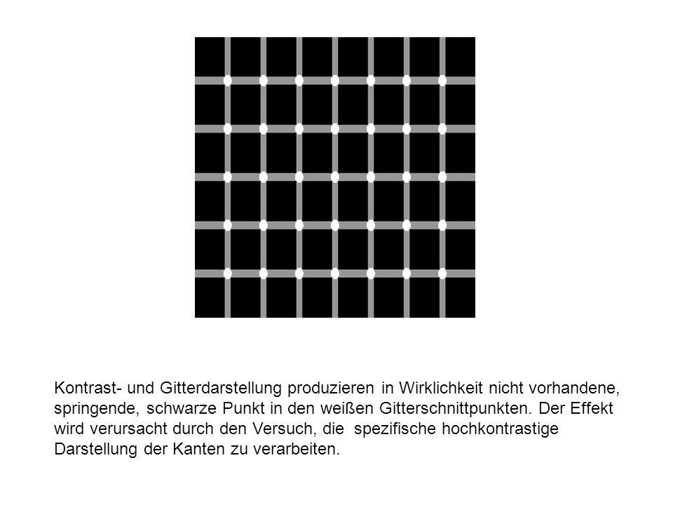 Beispiel 8 Kontrast- und Gitterdarstellung produzieren in Wirklichkeit nicht vorhandene, springende, schwarze Punkt in den weißen Gitterschnittpunkten