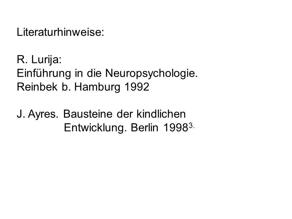 Literaturhinweise: R. Lurija: Einführung in die Neuropsychologie. Reinbek b. Hamburg 1992 J. Ayres. Bausteine der kindlichen Entwicklung. Berlin 1998