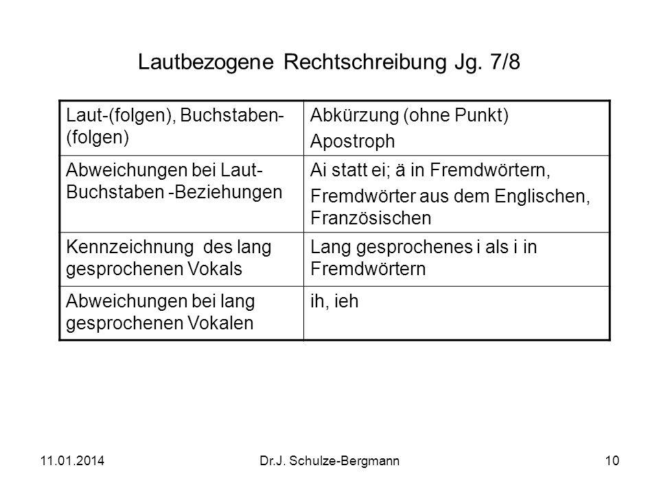 11.01.2014Dr.J. Schulze-Bergmann10 Lautbezogene Rechtschreibung Jg. 7/8 Laut-(folgen), Buchstaben- (folgen) Abkürzung (ohne Punkt) Apostroph Abweichun
