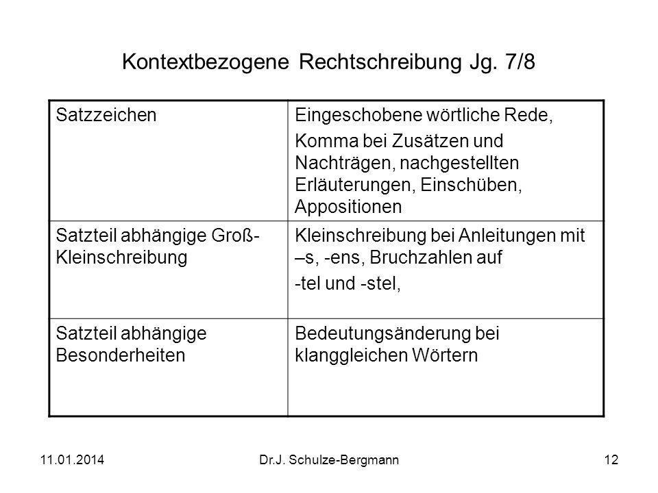 11.01.2014Dr.J. Schulze-Bergmann12 Kontextbezogene Rechtschreibung Jg. 7/8 SatzzeichenEingeschobene wörtliche Rede, Komma bei Zusätzen und Nachträgen,