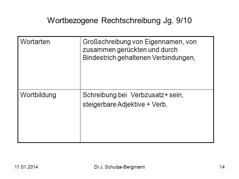 11.01.2014Dr.J. Schulze-Bergmann14 Wortbezogene Rechtschreibung Jg. 9/10 WortartenGroßschreibung von Eigennamen, von zusammen gerückten und durch Bind