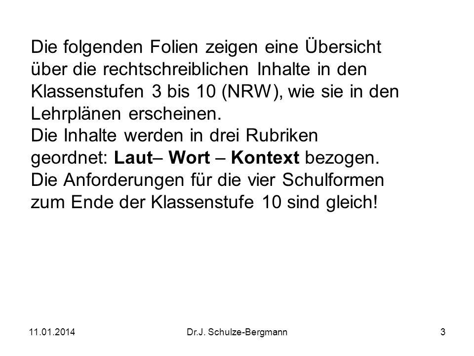 11.01.2014Dr.J. Schulze-Bergmann3 Die folgenden Folien zeigen eine Übersicht über die rechtschreiblichen Inhalte in den Klassenstufen 3 bis 10 (NRW),
