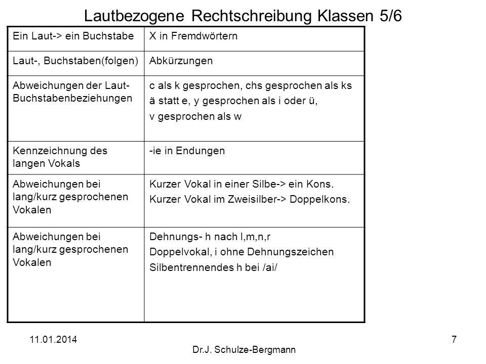 11.01.2014 Dr.J. Schulze-Bergmann 7 Lautbezogene Rechtschreibung Klassen 5/6 Ein Laut-> ein BuchstabeX in Fremdwörtern Laut-, Buchstaben(folgen)Abkürz