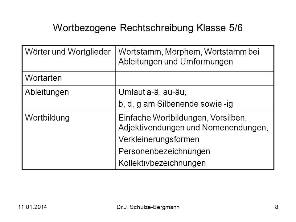 11.01.2014Dr.J. Schulze-Bergmann8 Wortbezogene Rechtschreibung Klasse 5/6 Wörter und WortgliederWortstamm, Morphem, Wortstamm bei Ableitungen und Umfo