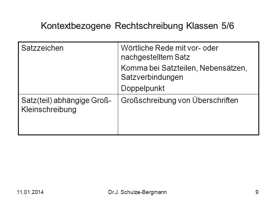 11.01.2014Dr.J.Schulze-Bergmann10 Lautbezogene Rechtschreibung Jg.