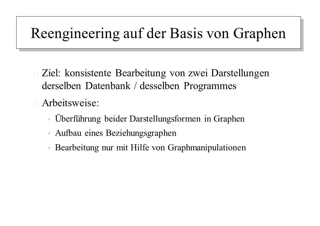 Reengineering auf der Basis von Graphen – Ziel: konsistente Bearbeitung von zwei Darstellungen derselben Datenbank / desselben Programmes – Arbeitswei
