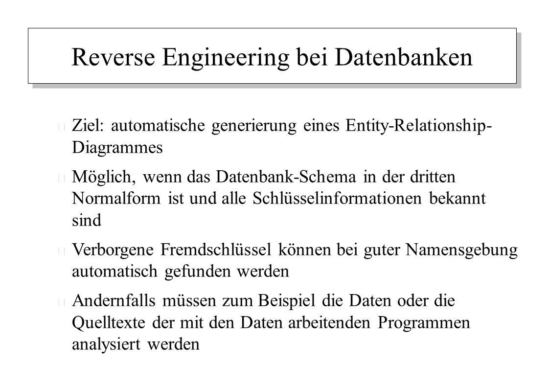 Reverse Engineering bei Datenbanken – Ziel: automatische generierung eines Entity-Relationship- Diagrammes – Möglich, wenn das Datenbank-Schema in der