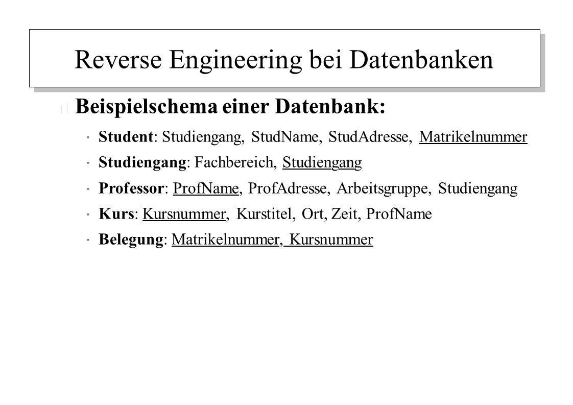 Reverse Engineering bei Datenbanken – Beispielschema einer Datenbank: