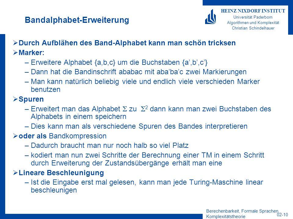 Berechenbarkeit, Formale Sprachen, Komplexitätstheorie 02-10 HEINZ NIXDORF INSTITUT Universität Paderborn Algorithmen und Komplexität Christian Schind