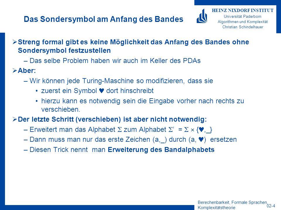 Berechenbarkeit, Formale Sprachen, Komplexitätstheorie 02-4 HEINZ NIXDORF INSTITUT Universität Paderborn Algorithmen und Komplexität Christian Schinde
