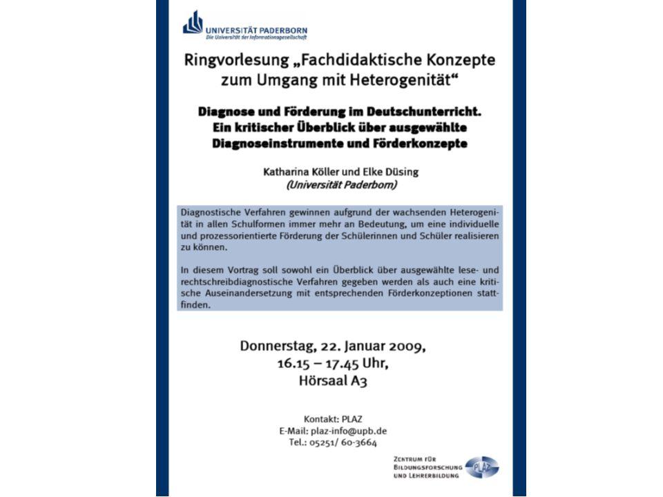 Diagnose und Förderung im Deutschunterricht Ein kritischer Überblick über ausgewählte Diagnoseinstrumente und Förderkonzepte