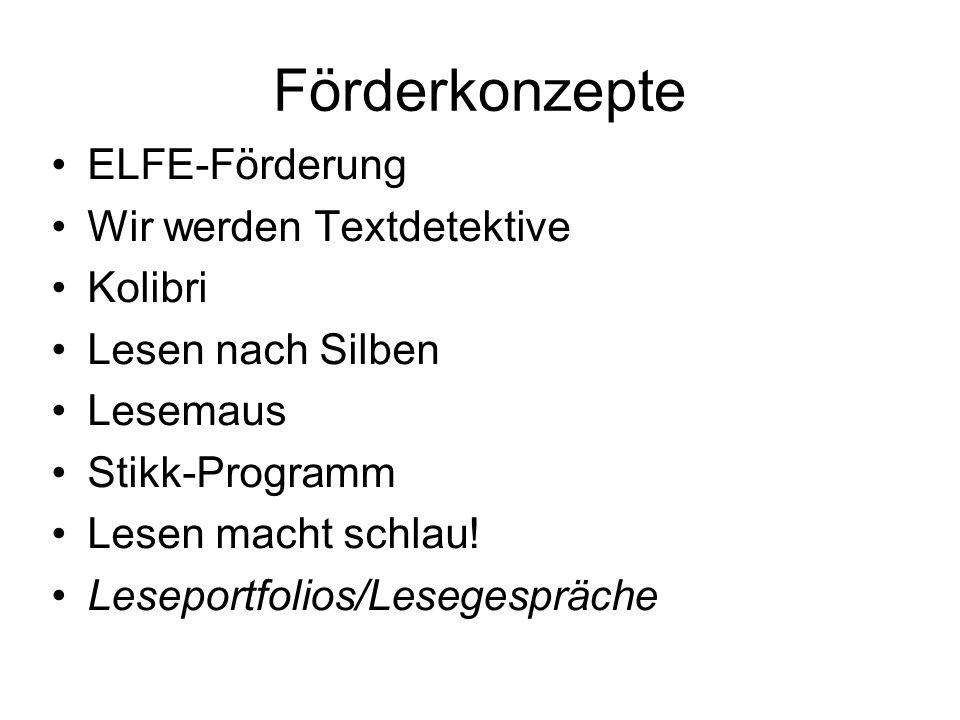 Förderkonzepte ELFE-Förderung Wir werden Textdetektive Kolibri Lesen nach Silben Lesemaus Stikk-Programm Lesen macht schlau! Leseportfolios/Lesegesprä