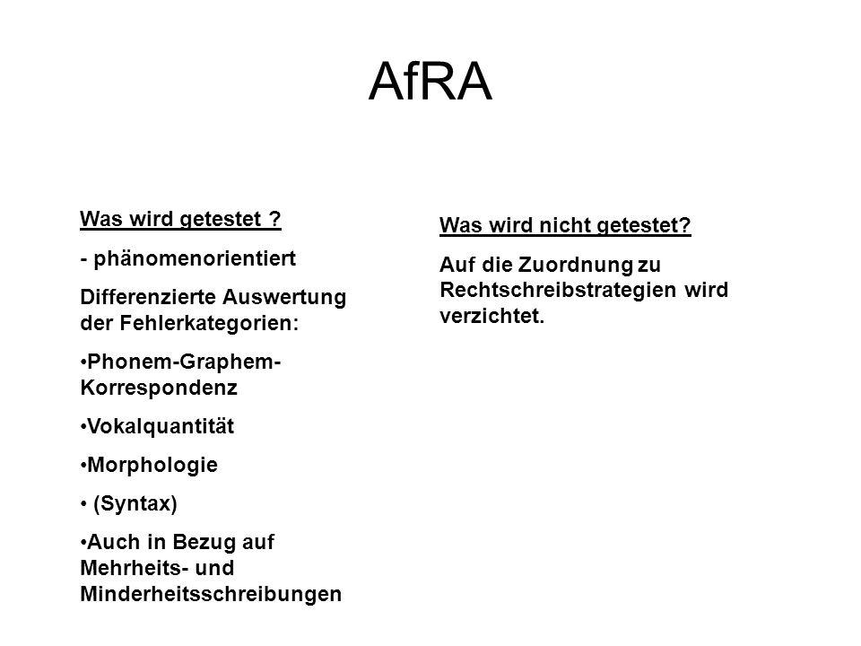 AfRA Was wird getestet ? - phänomenorientiert Differenzierte Auswertung der Fehlerkategorien: Phonem-Graphem- Korrespondenz Vokalquantität Morphologie