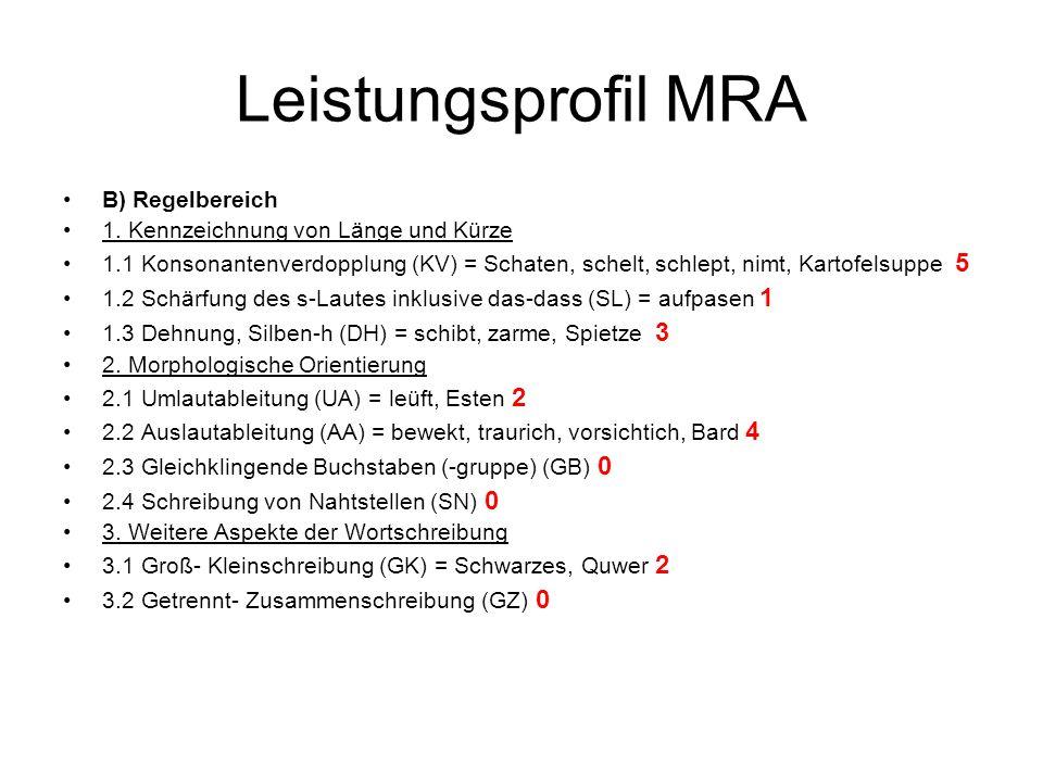 Leistungsprofil MRA B) Regelbereich 1. Kennzeichnung von Länge und Kürze 1.1 Konsonantenverdopplung (KV) = Schaten, schelt, schlept, nimt, Kartofelsup