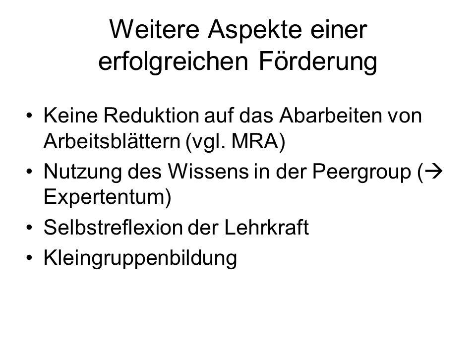 Weitere Aspekte einer erfolgreichen Förderung Keine Reduktion auf das Abarbeiten von Arbeitsblättern (vgl. MRA) Nutzung des Wissens in der Peergroup (