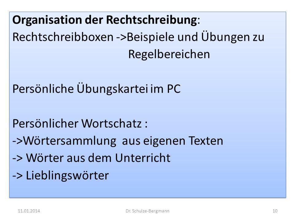 Organisation der Rechtschreibung: Rechtschreibboxen ->Beispiele und Übungen zu Regelbereichen Persönliche Übungskartei im PC Persönlicher Wortschatz :