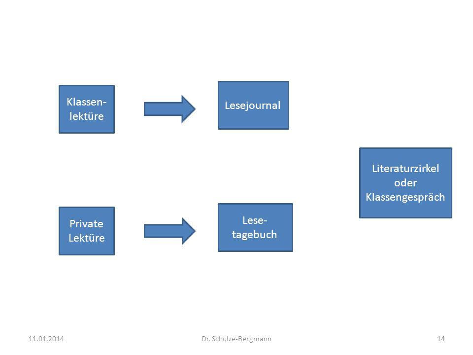 Klassen- lektüre Private Lektüre Lesejournal Lese- tagebuch Literaturzirkel oder Klassengespräch 11.01.201414Dr. Schulze-Bergmann