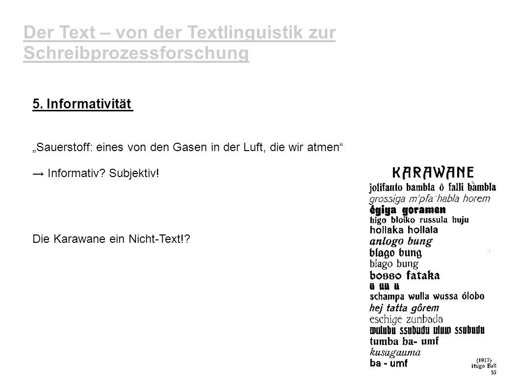 Der Text – von der Textlinguistik zur Schreibprozessforschung 5. Informativität Sauerstoff: eines von den Gasen in der Luft, die wir atmen Informativ?