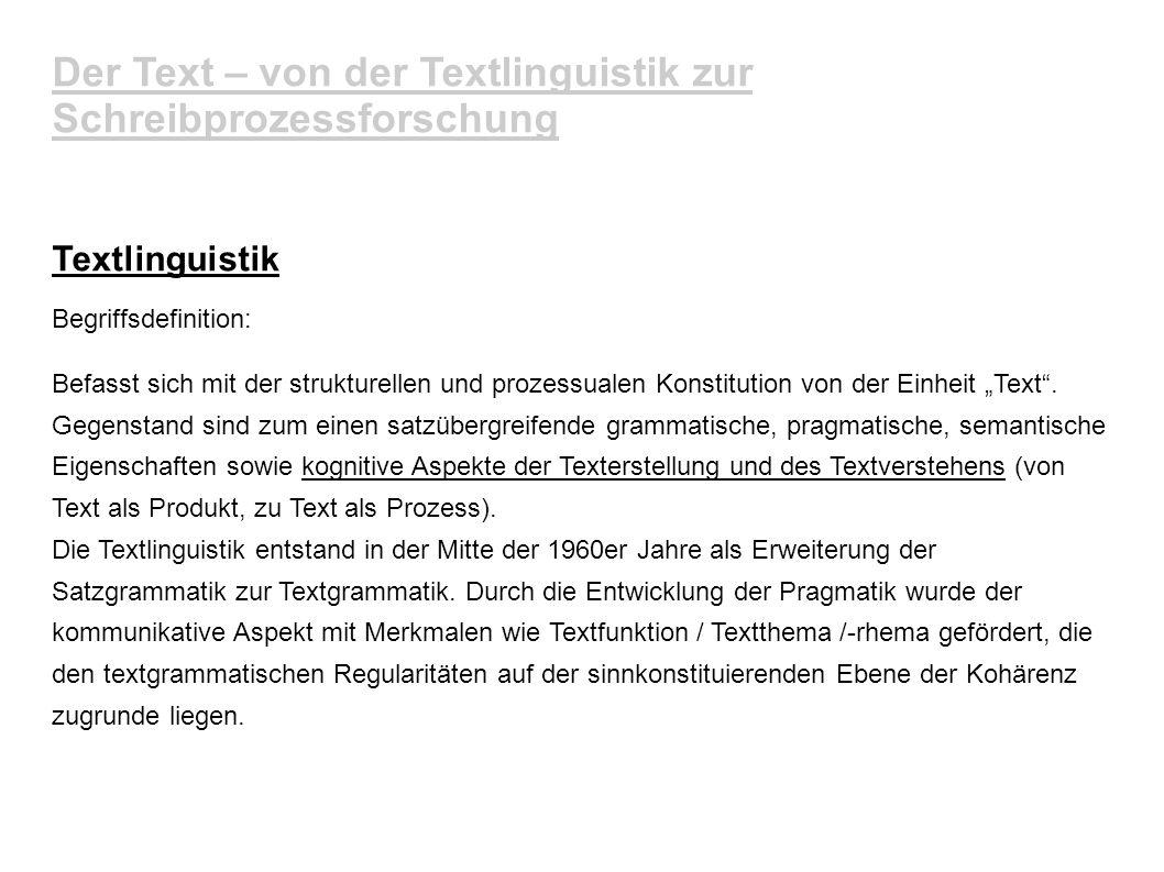 Der Text – von der Textlinguistik zur Schreibprozessforschung Textlinguistik Begriffsdefinition: Befasst sich mit der strukturellen und prozessualen K