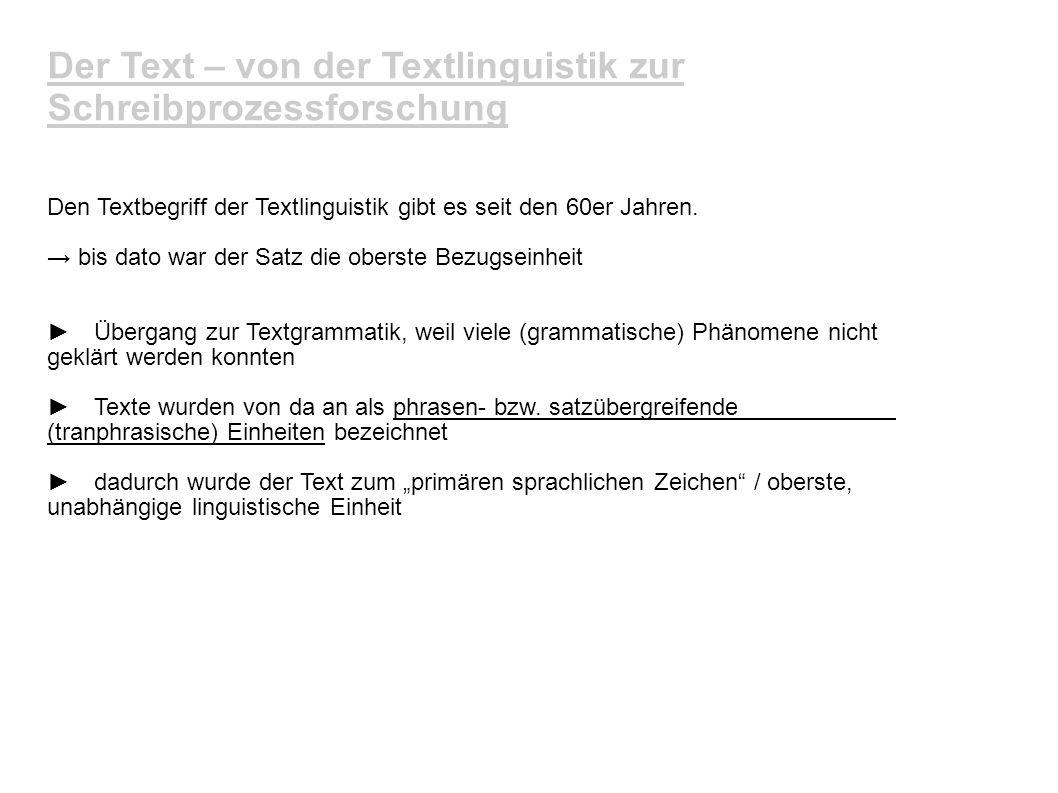 Der Text – von der Textlinguistik zur Schreibprozessforschung Den Textbegriff der Textlinguistik gibt es seit den 60er Jahren. bis dato war der Satz d