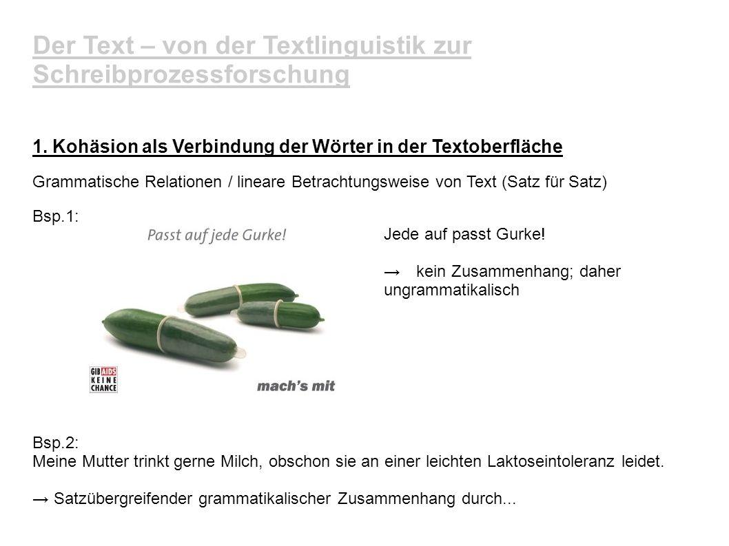 Der Text – von der Textlinguistik zur Schreibprozessforschung 1. Kohäsion als Verbindung der Wörter in der Textoberfläche Grammatische Relationen / li
