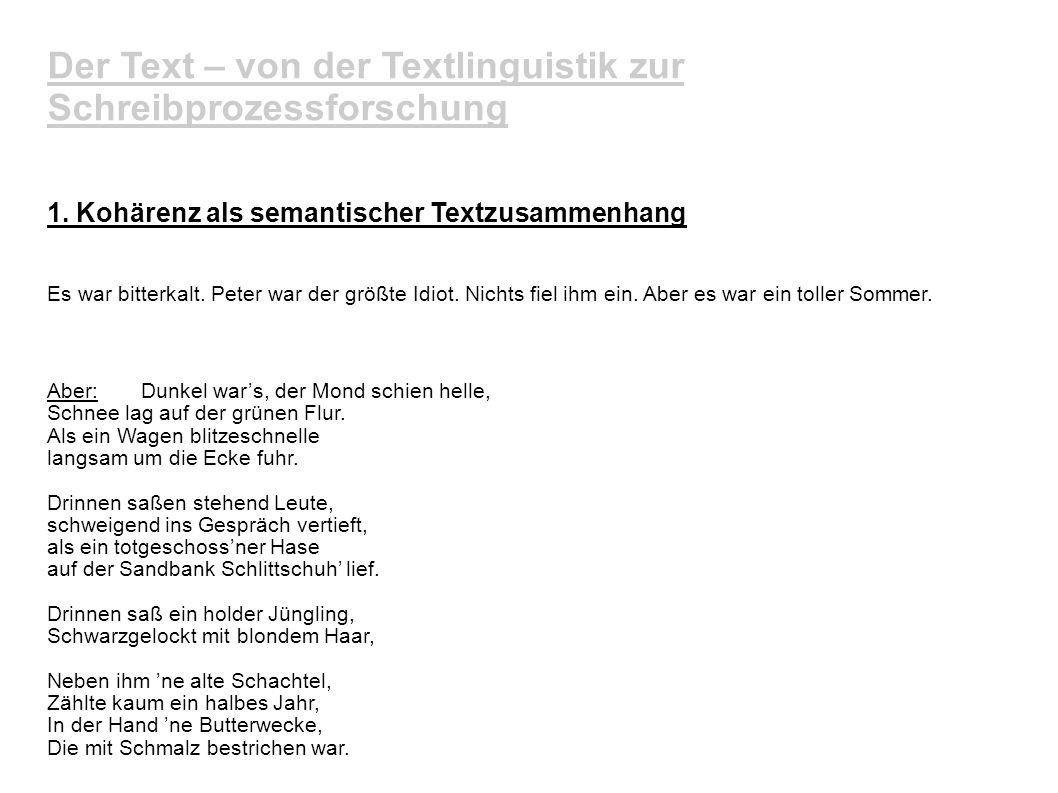 Der Text – von der Textlinguistik zur Schreibprozessforschung 3.