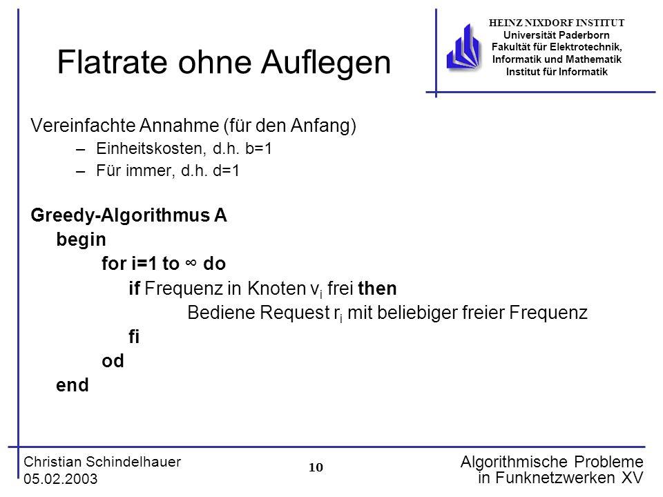 10 Christian Schindelhauer 05.02.2003 HEINZ NIXDORF INSTITUT Universität Paderborn Fakultät für Elektrotechnik, Informatik und Mathematik Institut für