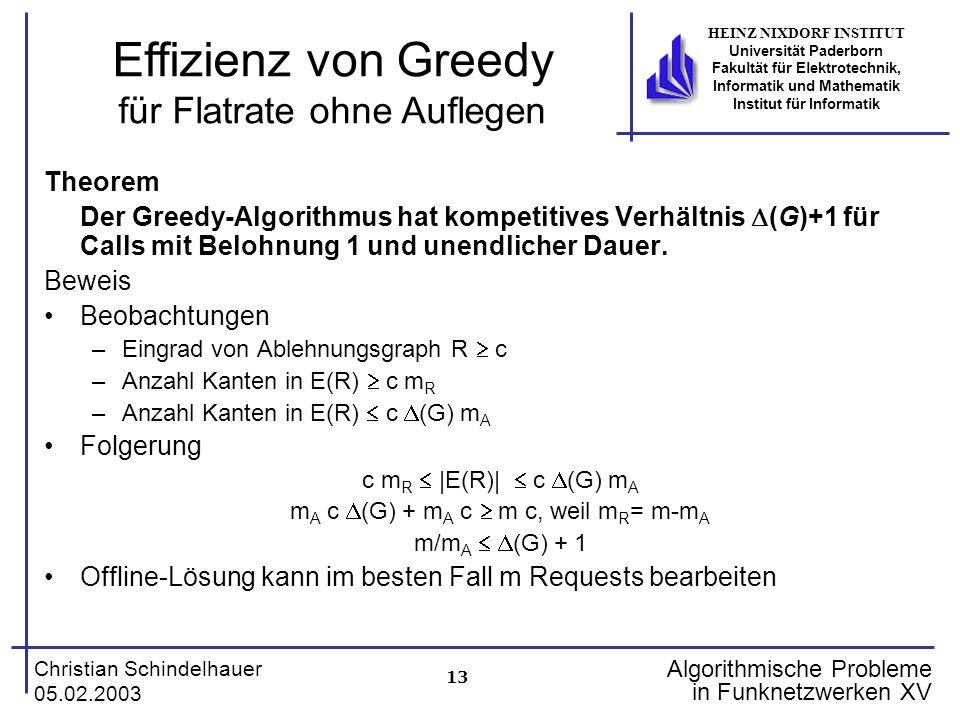 13 Christian Schindelhauer 05.02.2003 HEINZ NIXDORF INSTITUT Universität Paderborn Fakultät für Elektrotechnik, Informatik und Mathematik Institut für