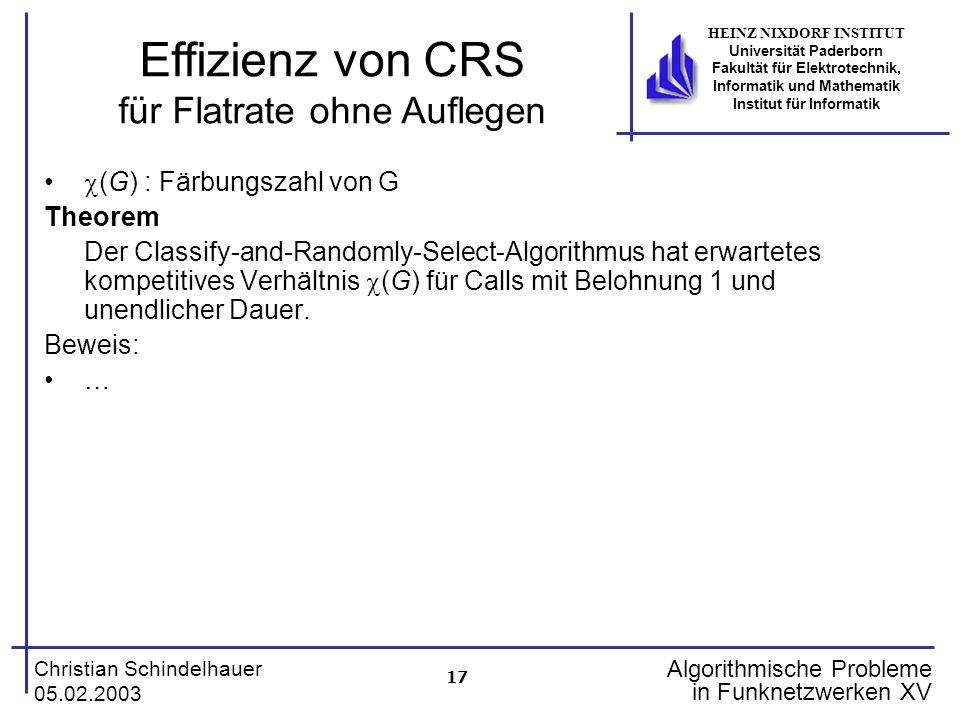 17 Christian Schindelhauer 05.02.2003 HEINZ NIXDORF INSTITUT Universität Paderborn Fakultät für Elektrotechnik, Informatik und Mathematik Institut für