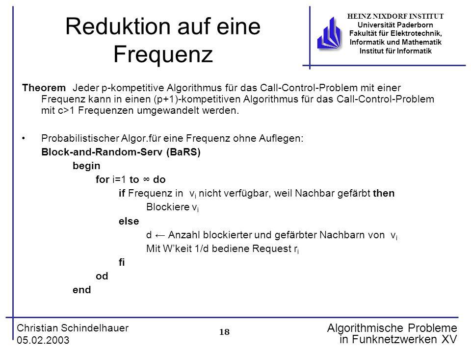 18 Christian Schindelhauer 05.02.2003 HEINZ NIXDORF INSTITUT Universität Paderborn Fakultät für Elektrotechnik, Informatik und Mathematik Institut für