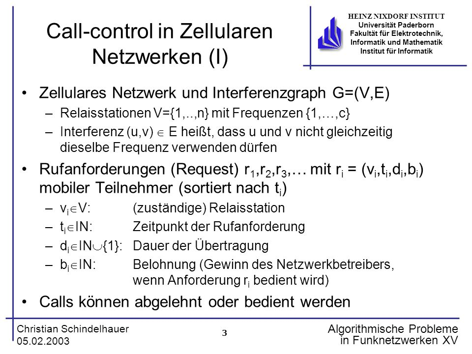 3 Christian Schindelhauer 05.02.2003 HEINZ NIXDORF INSTITUT Universität Paderborn Fakultät für Elektrotechnik, Informatik und Mathematik Institut für