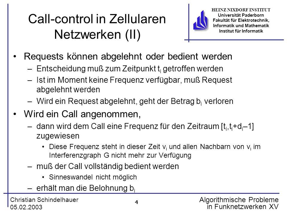 5 Christian Schindelhauer 05.02.2003 HEINZ NIXDORF INSTITUT Universität Paderborn Fakultät für Elektrotechnik, Informatik und Mathematik Institut für Informatik Algorithmische Probleme in Funknetzwerken XV Beispiel 1 2 3 4 Interferenzgraph: 3 Frequenzen: Call: r 1 =(2,1,100,1) –Akzeptiert auf Frequenz 1 –Blockierte Frequenzen: –Belohnung:1 Call: (1,2,3,1) –Abgelehnt (warum auch immer)
