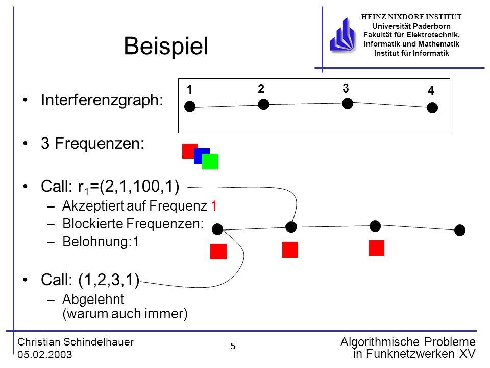 6 Christian Schindelhauer 05.02.2003 HEINZ NIXDORF INSTITUT Universität Paderborn Fakultät für Elektrotechnik, Informatik und Mathematik Institut für Informatik Algorithmische Probleme in Funknetzwerken XV Online-Probleme Optimale Lösung ist nur a-posteriori möglich: 1.Fall –Sei V={1} und betrachte Anfragesequenz: (1,1,10,2), (1,1,1,1), (1,2,1,1), (1,3,1,1), (1,4,1,1),…,(1,10,1,1) –Beste Lösung: Verwerfe (1,1,10,2) und akzeptiere alle anderen –Belohnung: 10 2.Fall –Sequenz besteht nur aus (1,1,10,2), (1,1,1,1) –Beste Lösung: Akzeptiere (1,1,10,2) –Belohnung: 2 Problem: Entscheidung muß zum Zeitpunkt t=1 geschehen!