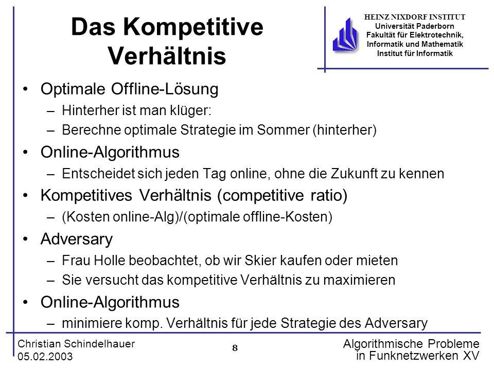 8 Christian Schindelhauer 05.02.2003 HEINZ NIXDORF INSTITUT Universität Paderborn Fakultät für Elektrotechnik, Informatik und Mathematik Institut für