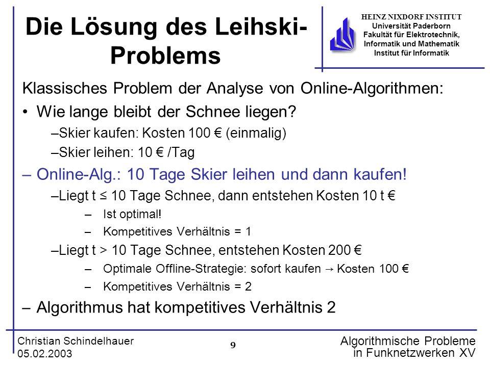 9 Christian Schindelhauer 05.02.2003 HEINZ NIXDORF INSTITUT Universität Paderborn Fakultät für Elektrotechnik, Informatik und Mathematik Institut für