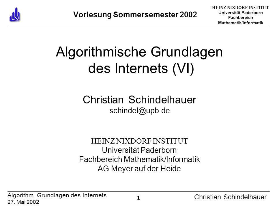 HEINZ NIXDORF INSTITUT Universität Paderborn Fachbereich Mathematik/Informatik 1 Algorithm. Grundlagen des Internets 27. Mai 2002 Christian Schindelha