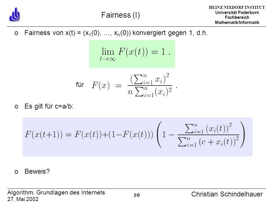 HEINZ NIXDORF INSTITUT Universität Paderborn Fachbereich Mathematik/Informatik 10 Algorithm. Grundlagen des Internets 27. Mai 2002 Christian Schindelh