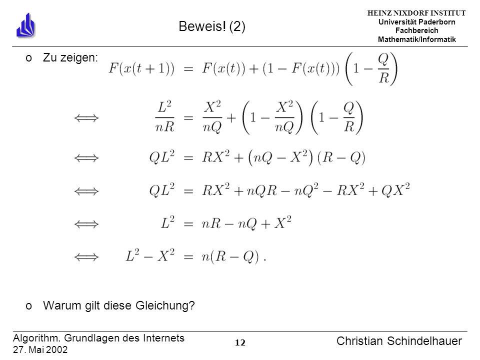 HEINZ NIXDORF INSTITUT Universität Paderborn Fachbereich Mathematik/Informatik 12 Algorithm. Grundlagen des Internets 27. Mai 2002 Christian Schindelh