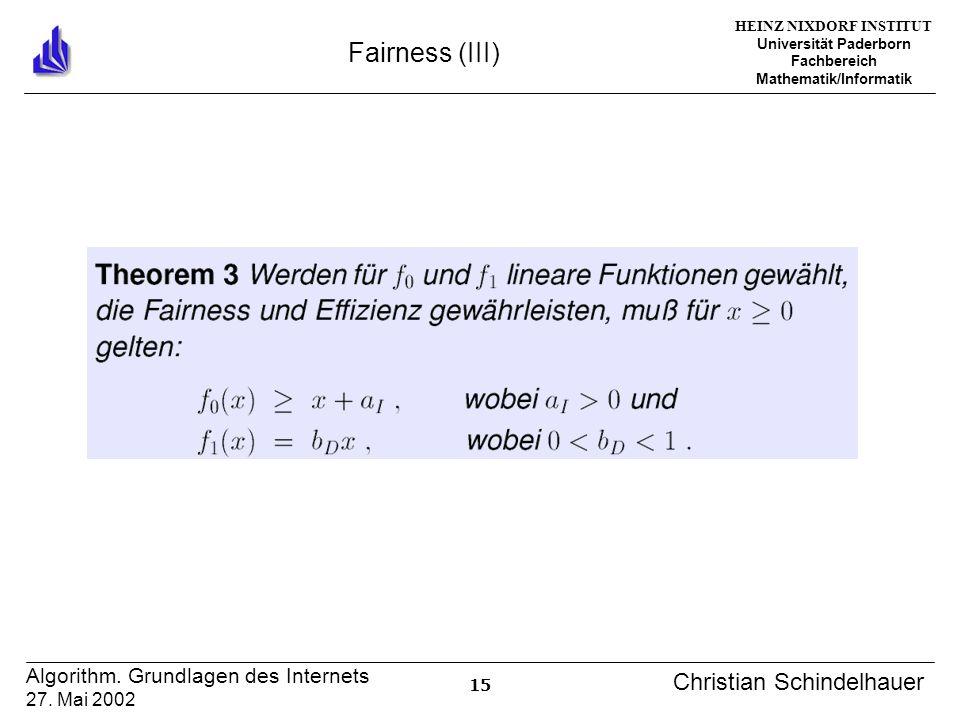 HEINZ NIXDORF INSTITUT Universität Paderborn Fachbereich Mathematik/Informatik 15 Algorithm. Grundlagen des Internets 27. Mai 2002 Christian Schindelh
