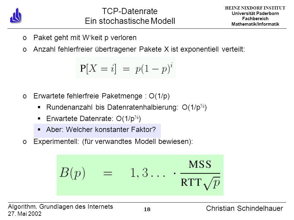 HEINZ NIXDORF INSTITUT Universität Paderborn Fachbereich Mathematik/Informatik 18 Algorithm. Grundlagen des Internets 27. Mai 2002 Christian Schindelh