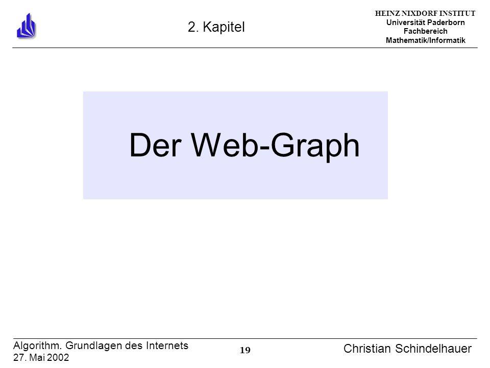 HEINZ NIXDORF INSTITUT Universität Paderborn Fachbereich Mathematik/Informatik 19 Algorithm. Grundlagen des Internets 27. Mai 2002 Christian Schindelh