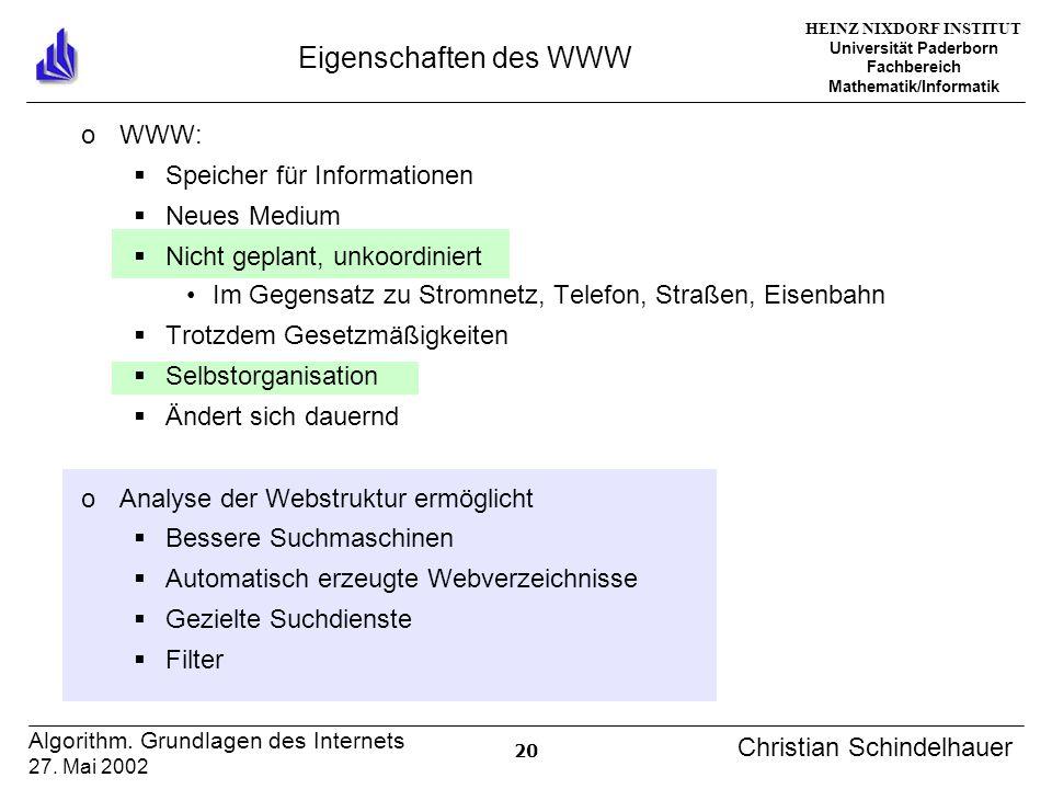 HEINZ NIXDORF INSTITUT Universität Paderborn Fachbereich Mathematik/Informatik 20 Algorithm. Grundlagen des Internets 27. Mai 2002 Christian Schindelh