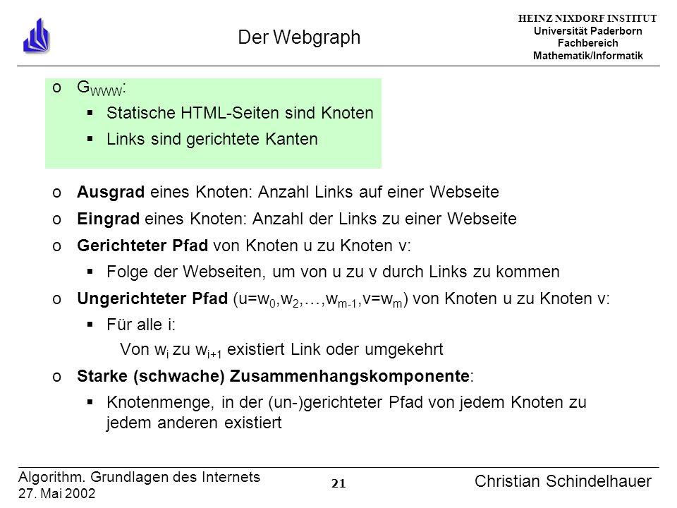 HEINZ NIXDORF INSTITUT Universität Paderborn Fachbereich Mathematik/Informatik 21 Algorithm. Grundlagen des Internets 27. Mai 2002 Christian Schindelh
